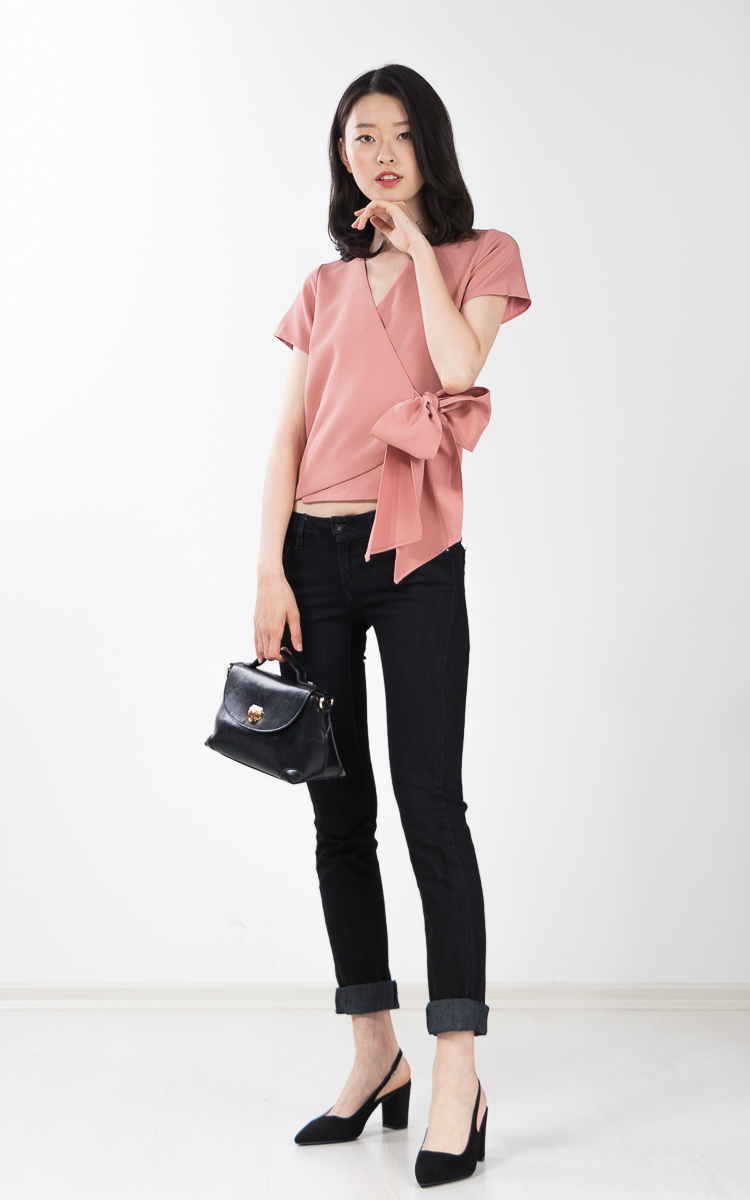 Kadie Bow Top in Pink