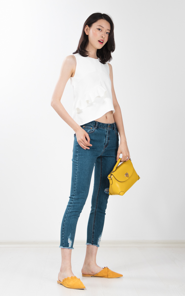 Unice Ruffle Top in White