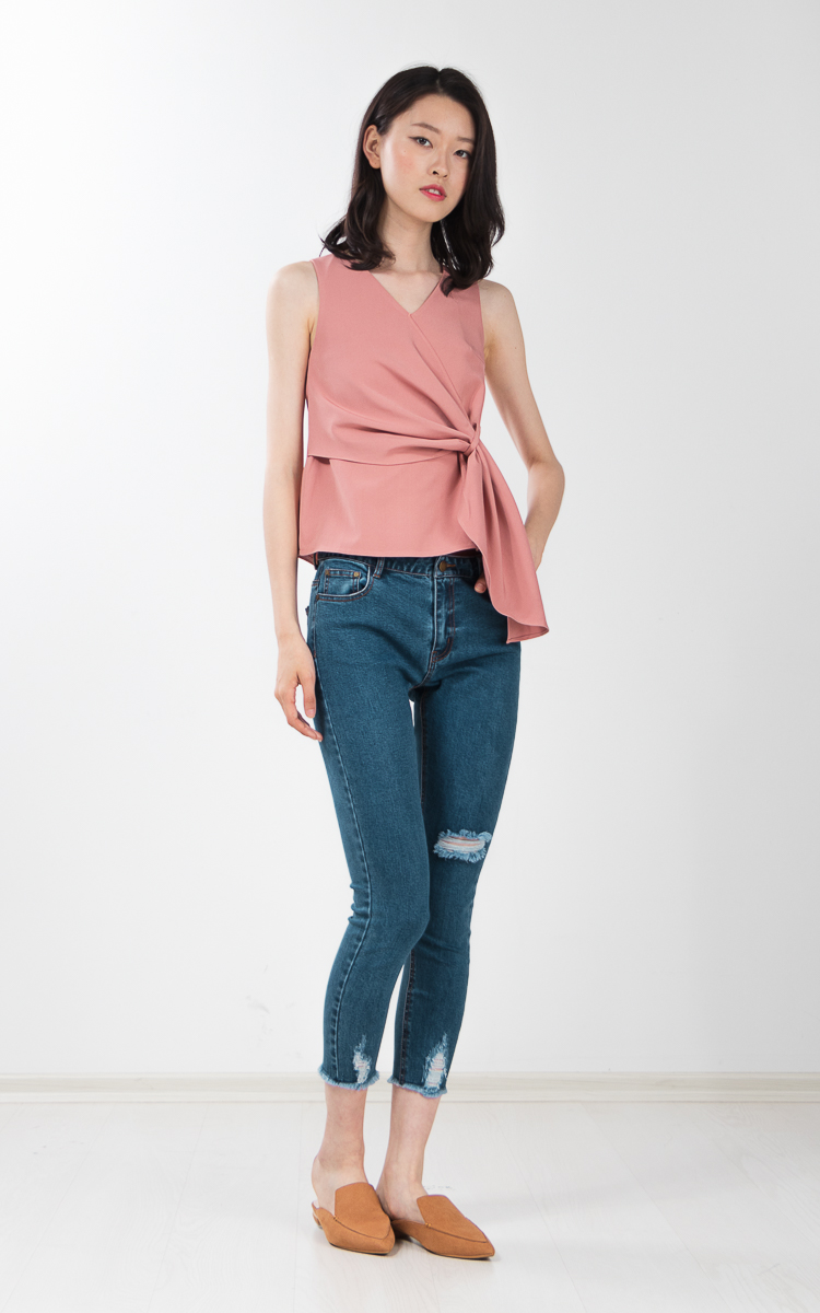 Tawney Drape Top in Pink