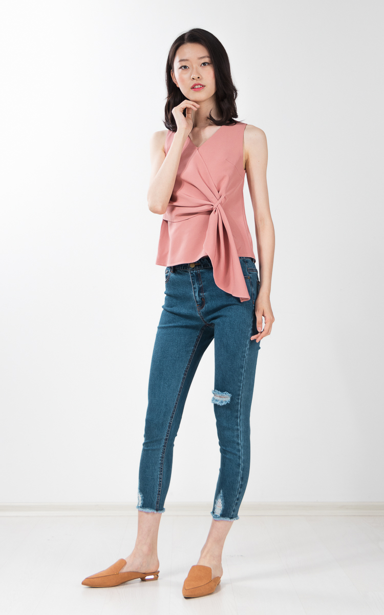 Tawney Drape Top in Pink