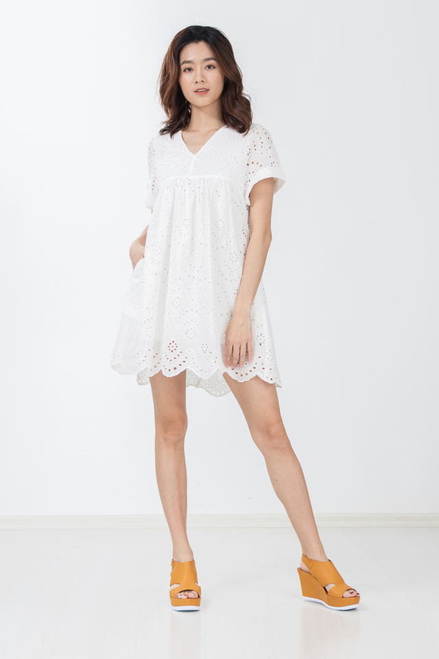 Siberia Eyelet Dress Playsuit in White