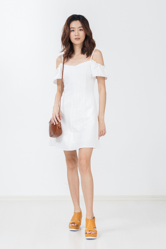 Danette Drop Shoulder Stripe Dress in White