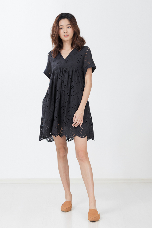 Siberia Eyelet Dress Playsuit in Black