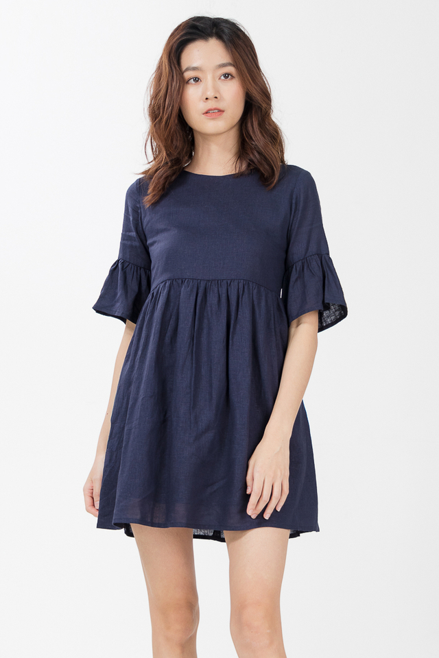 Shayne Linen Babydoll Dress in Navy Blue