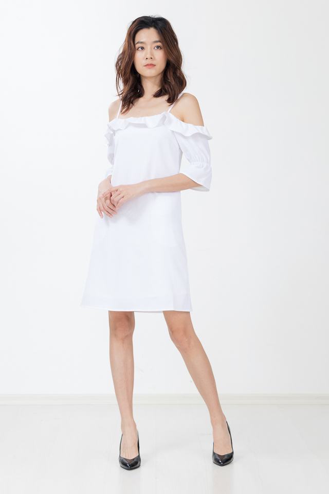 Nevaeh Drop Shoulder Dress in White