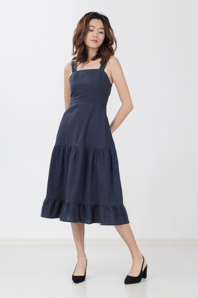 Louisiana Linen Maxi Dress in Navy Blue