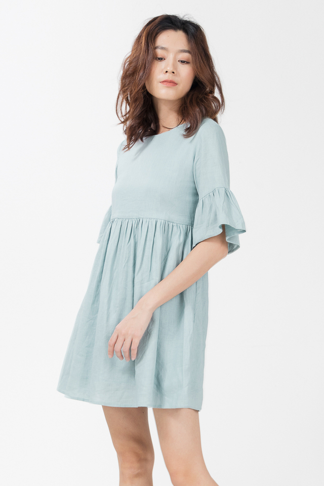 Shayne Linen Babydoll Dress in Mint