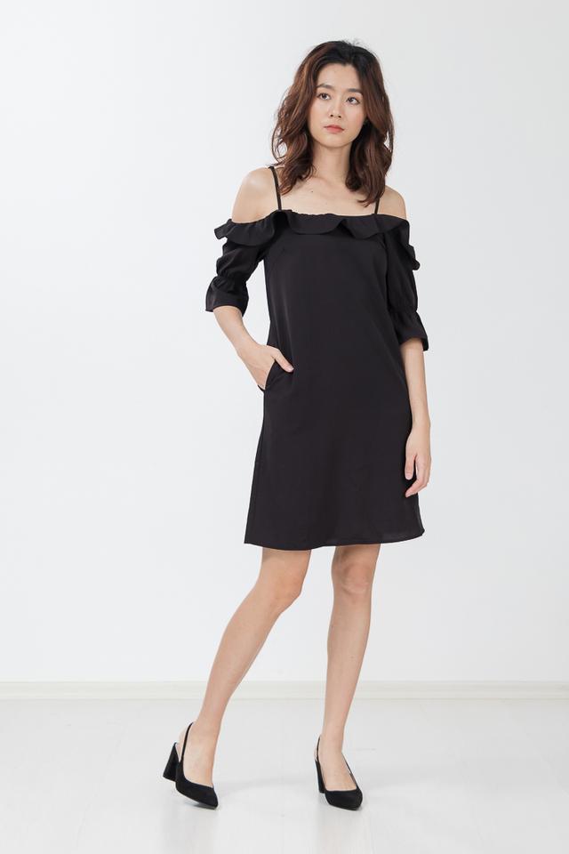 Nevaeh Drop Shoulder Dress in Black
