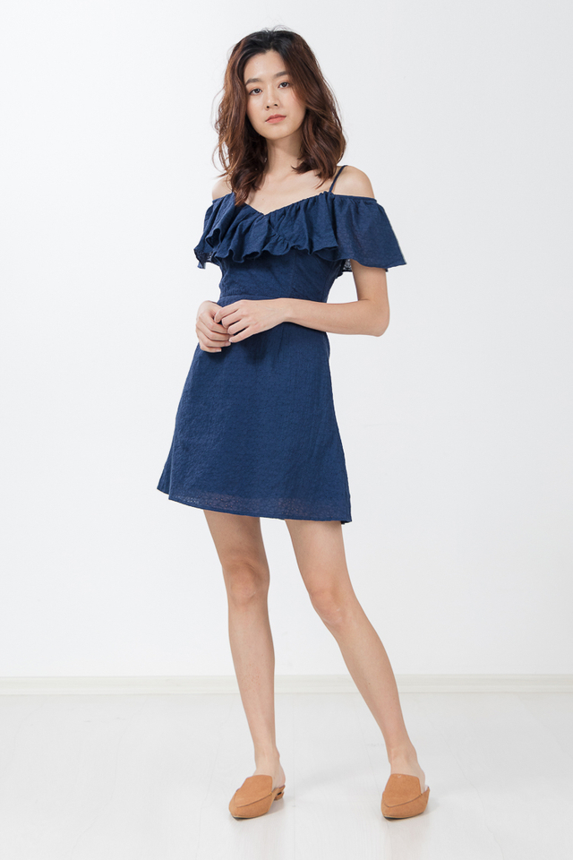 Tammy Eyelet Dress in Navy Blue