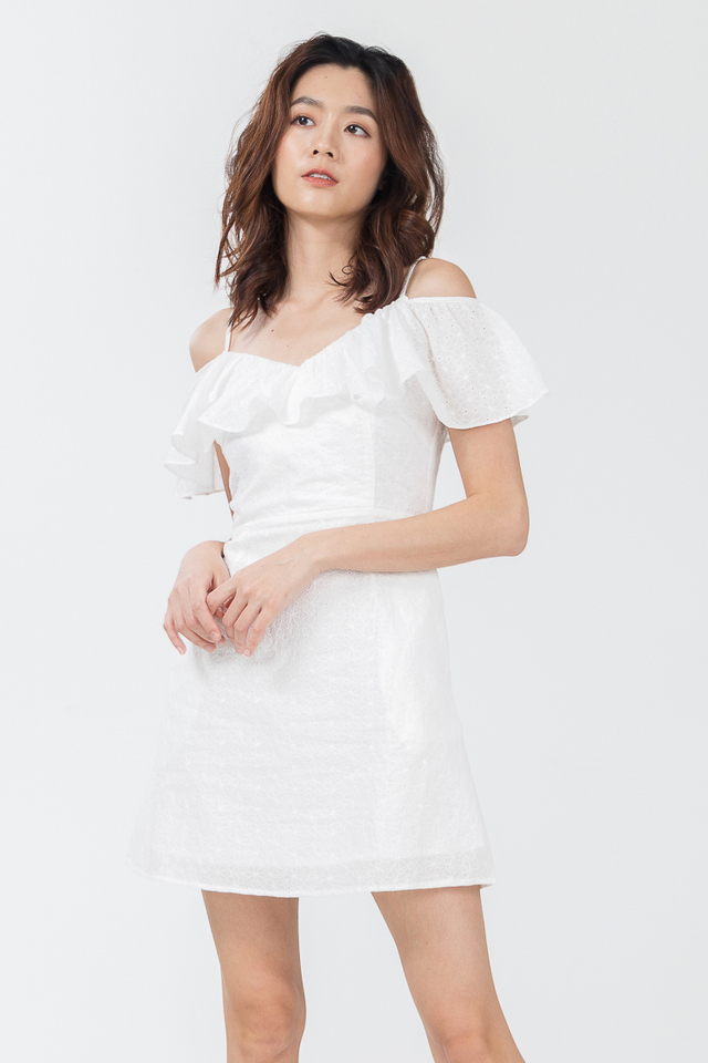 Tammy Eyelet Dress in White