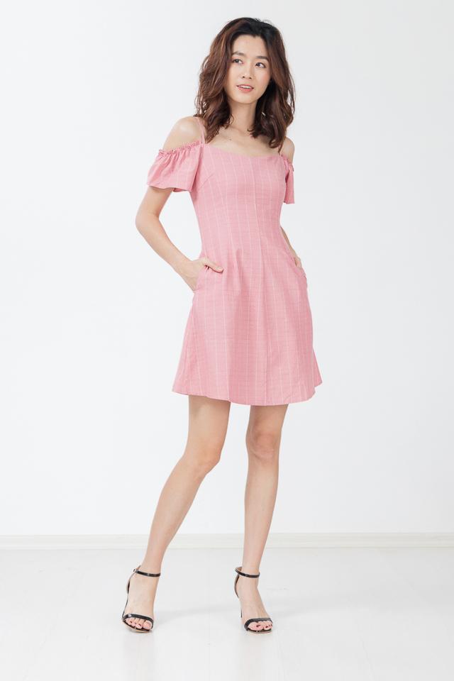 Danette Drop Shoulder Stripe Dress in Pink