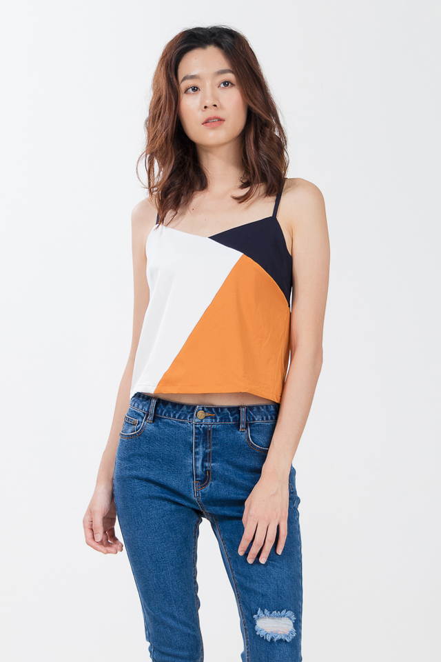 Laila Colour Block Top in Camel/Black