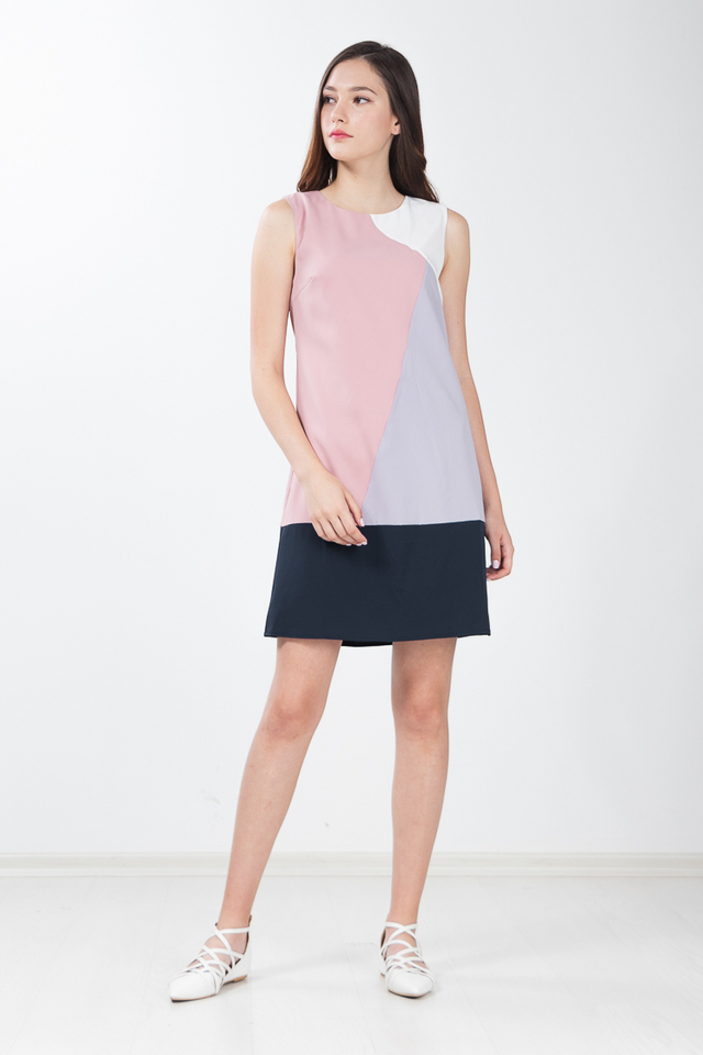 Annis Colour Block Shift Dress in Pink