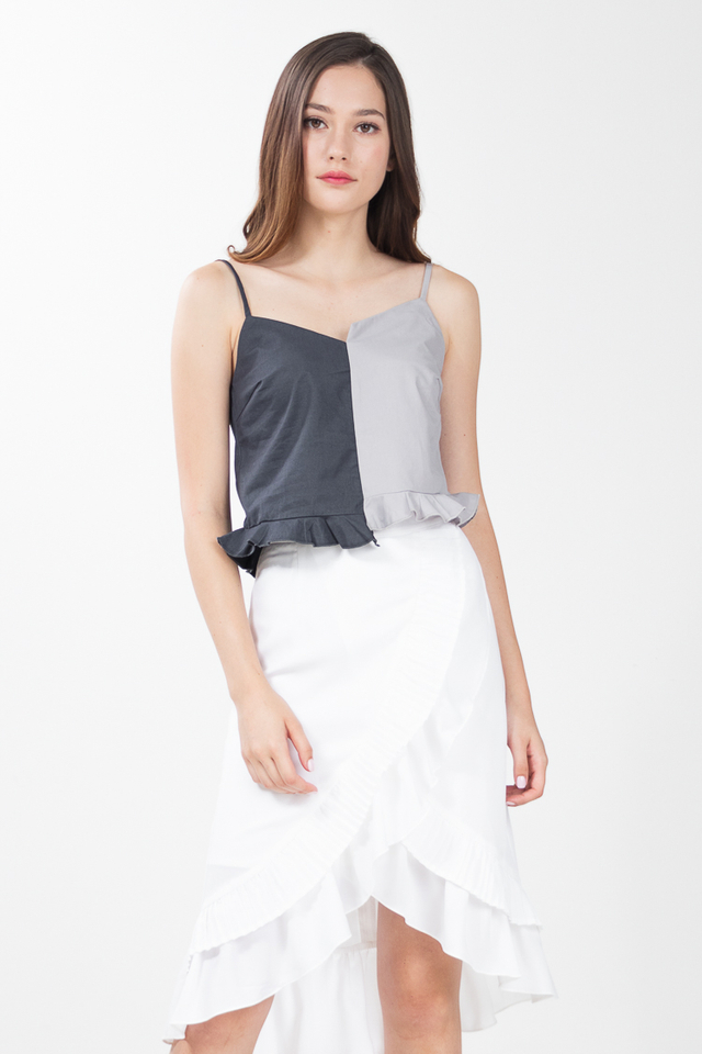 Liotta Peplum Top in Grey