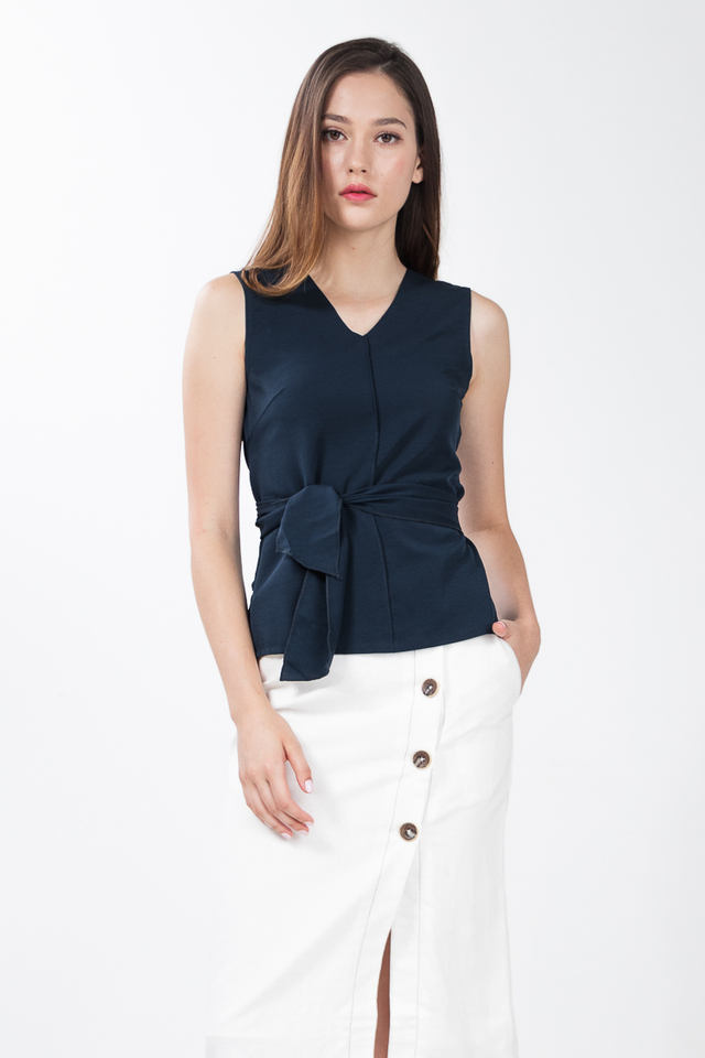 Claret Ribbon Top in Navy Blue