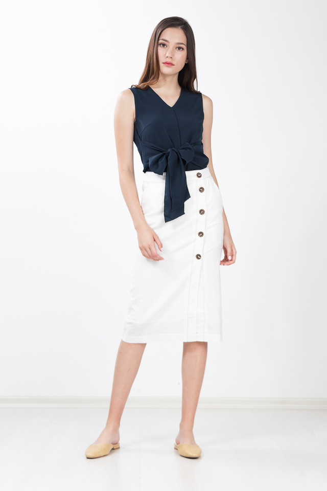 Regalia Button Linen Skirt in White