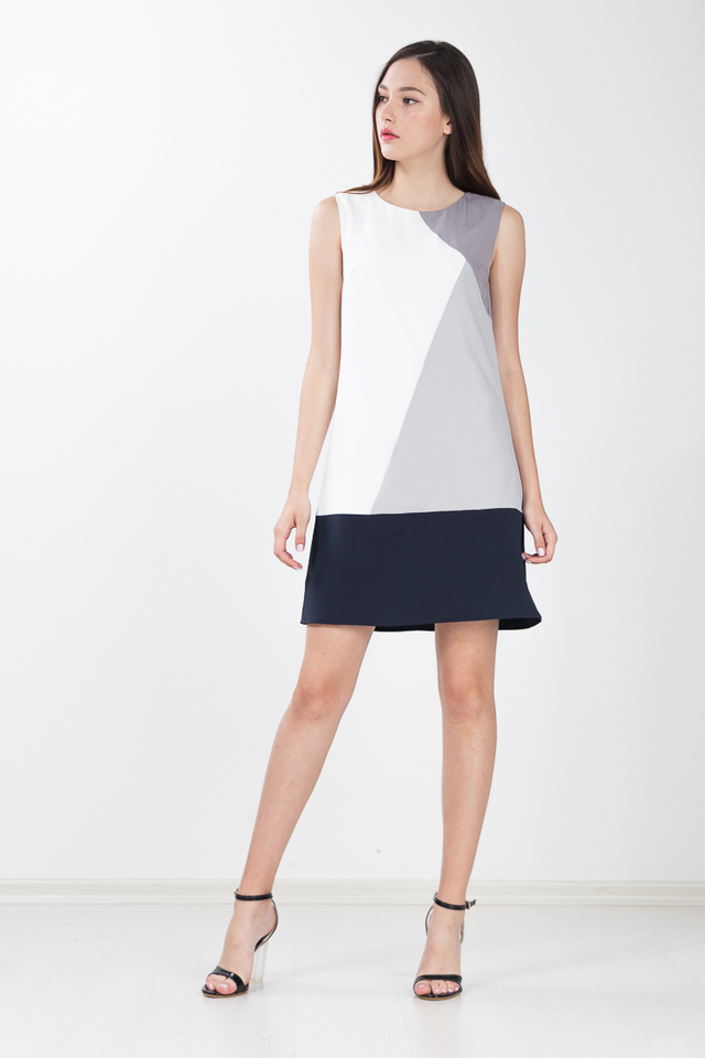 Annis Colour Block Shift Dress in Grey