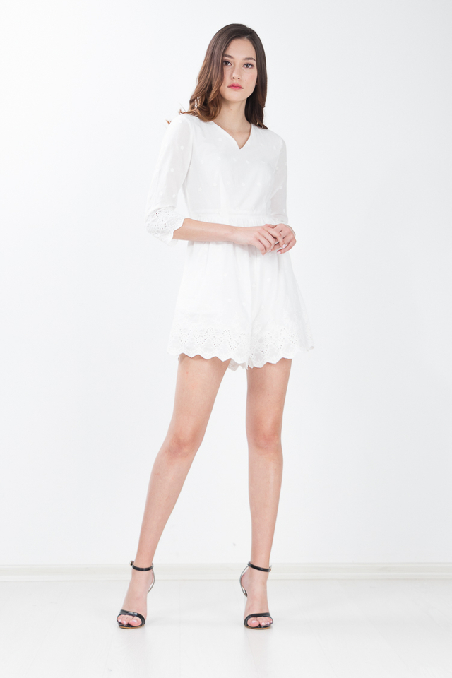Hadley Embroidered Romper in White
