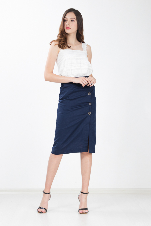 Regalia Button Linen Skirt in Navy Blue
