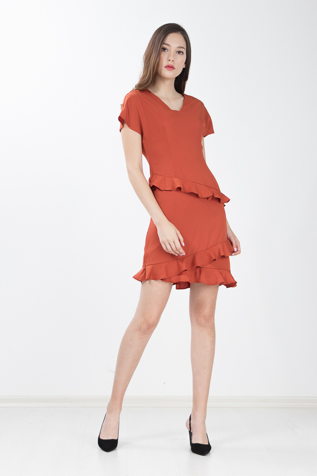 Maho Ruffled Shift Dress in Pumpkin
