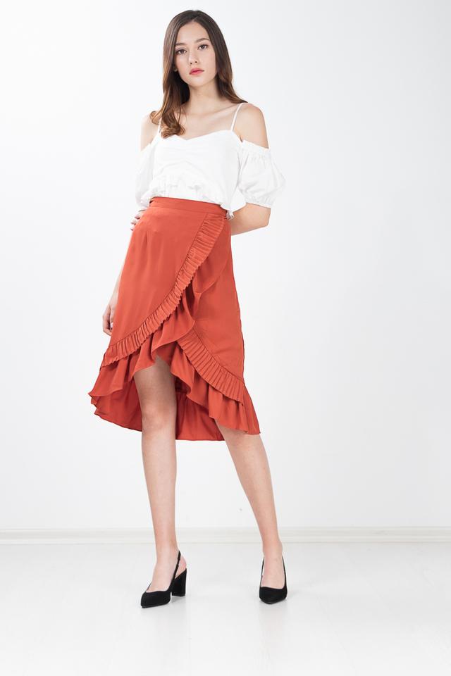 Hampton Pleated Midi Skirt in Pepperoni