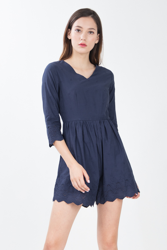 Hadley Embroidered Romper in Navy Blue