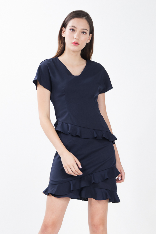Maho Ruffled Shift Dress in Navy Blue