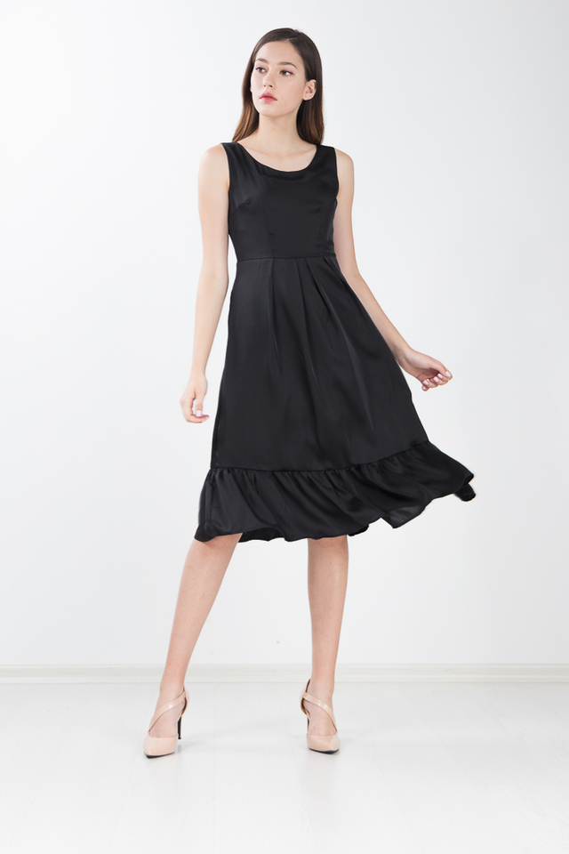 Marcia Sateen Midi Dress in Black