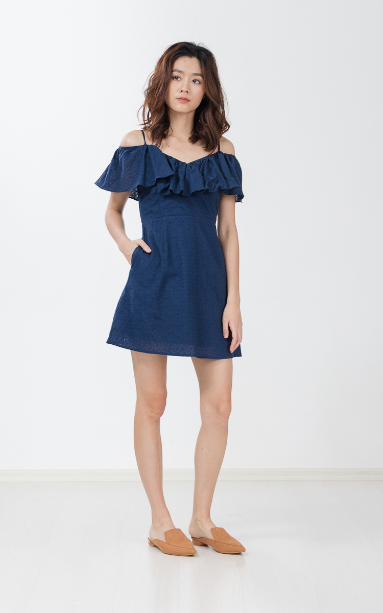 3111026f42 Tammy Eyelet Dress in Navy Blue | Ninth Collective