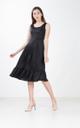 Marcia Sateen Midi Dress in Black