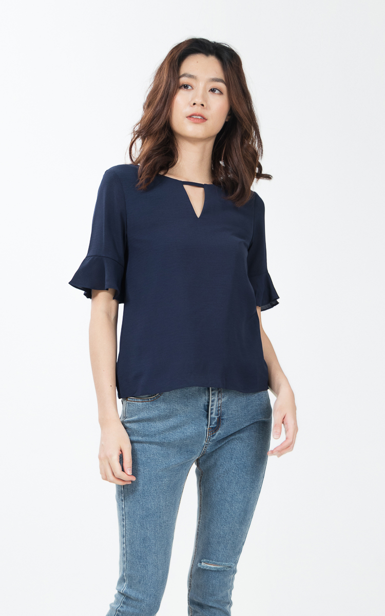Paccia Top in Navy Blue