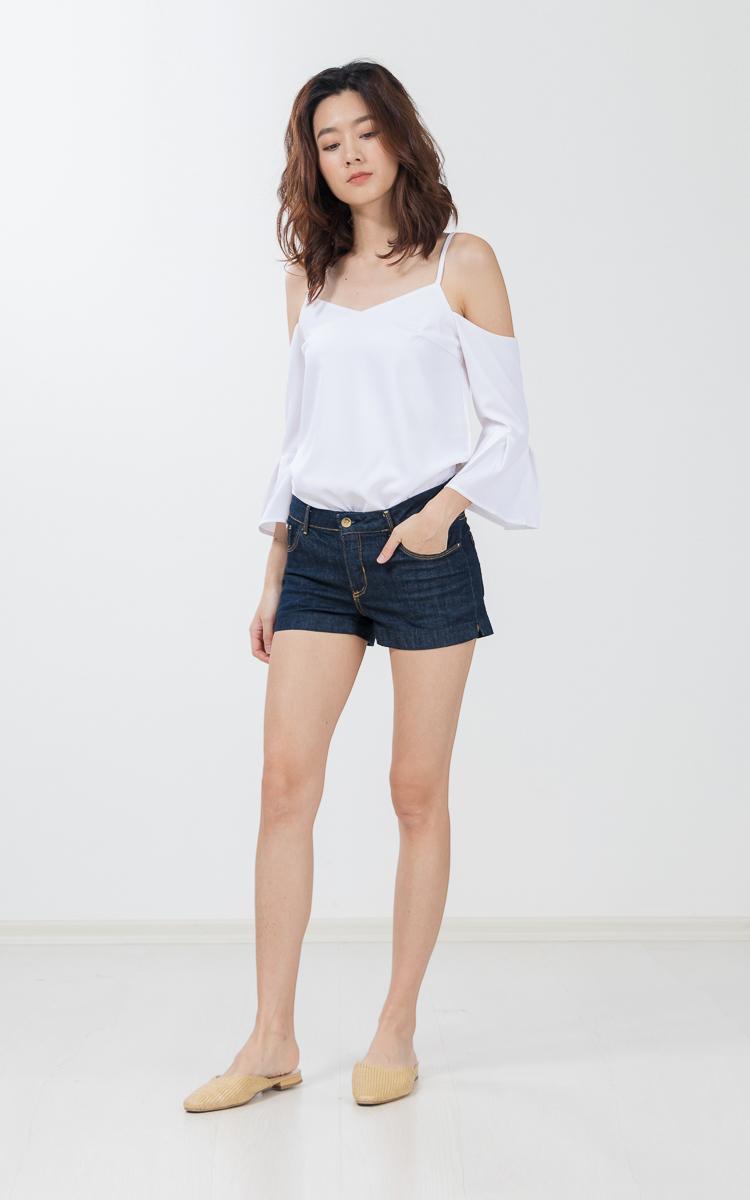 Peigi Drop Shoulder Top in White