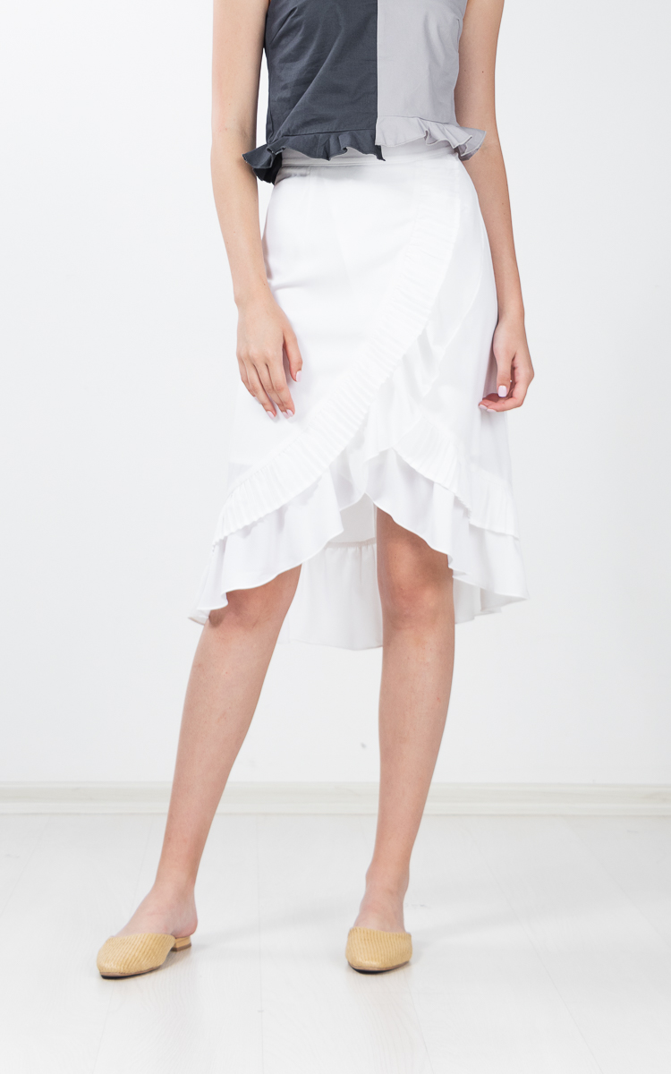 Hampton Pleated Midi Skirt in White