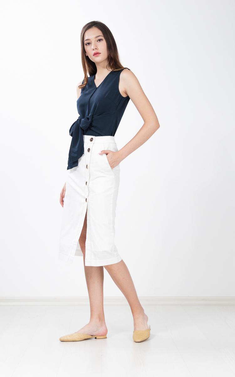 Regalia Button Linen Skirt in White