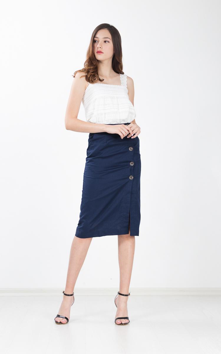 Regalia Button Linen Skirt in Navy Blue
