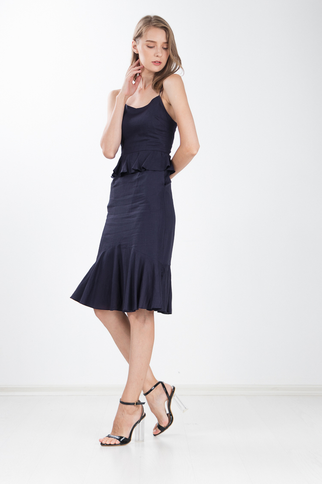 Jannah Peplum Dress in Navy Blue