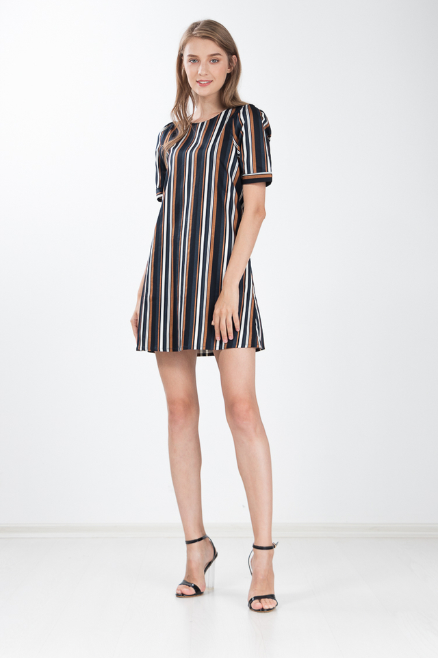 Moina Striped Dress in Navy Blue