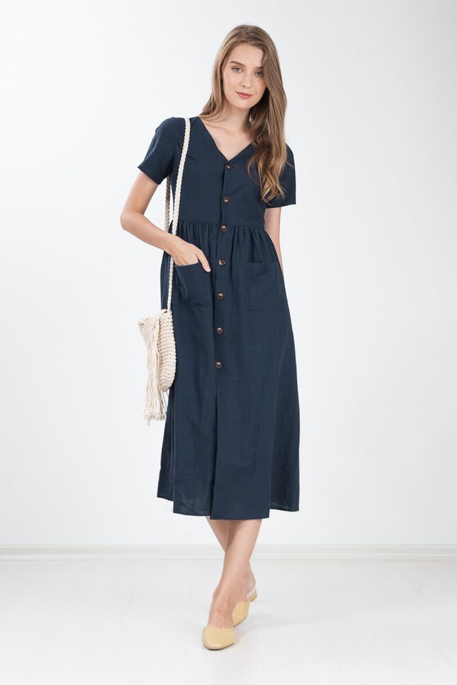 Ewa Linen Maxi Dress in Navy Blue