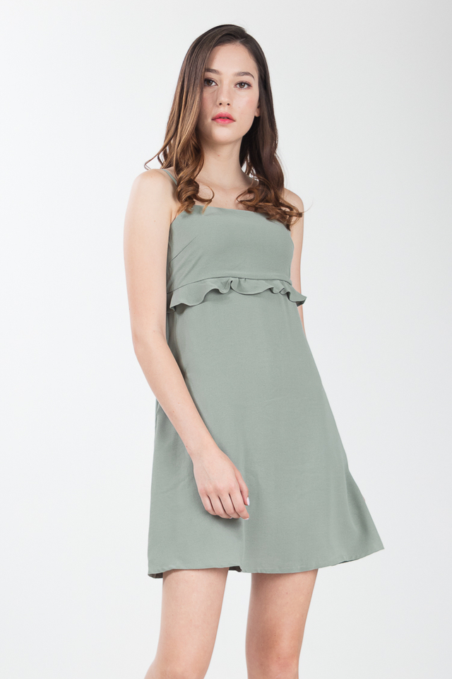 Harlie Ruffled Dress in Sage Green