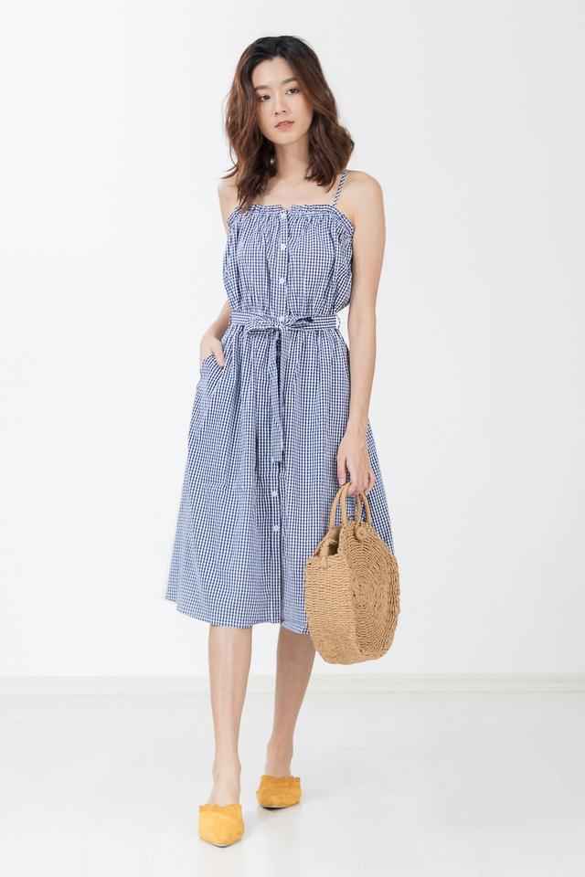 Loewe Gingham Midi Dress in Navy Blue
