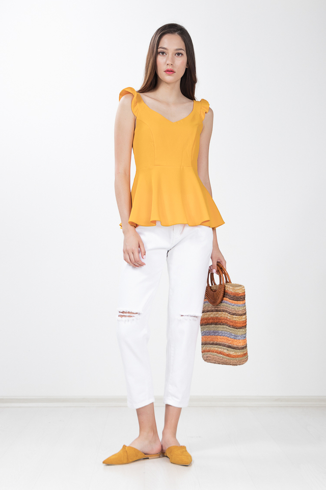 Reece Peplum Top in Marigold