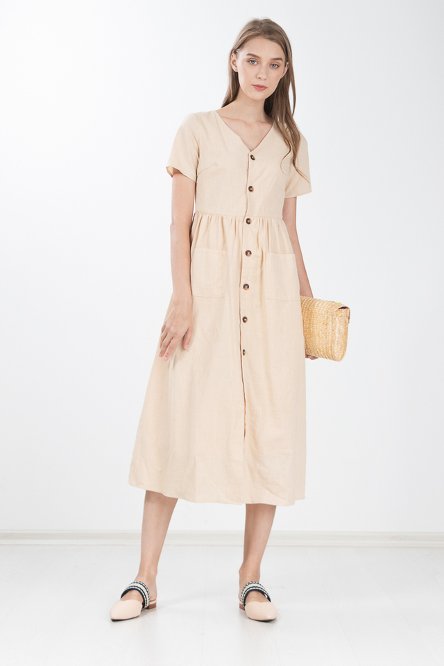 Ewa Linen Maxi Dress in Khaki