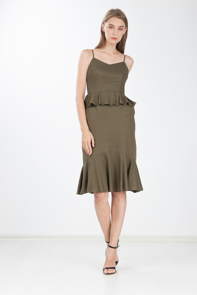 Jannah Peplum Dress in Olive Green