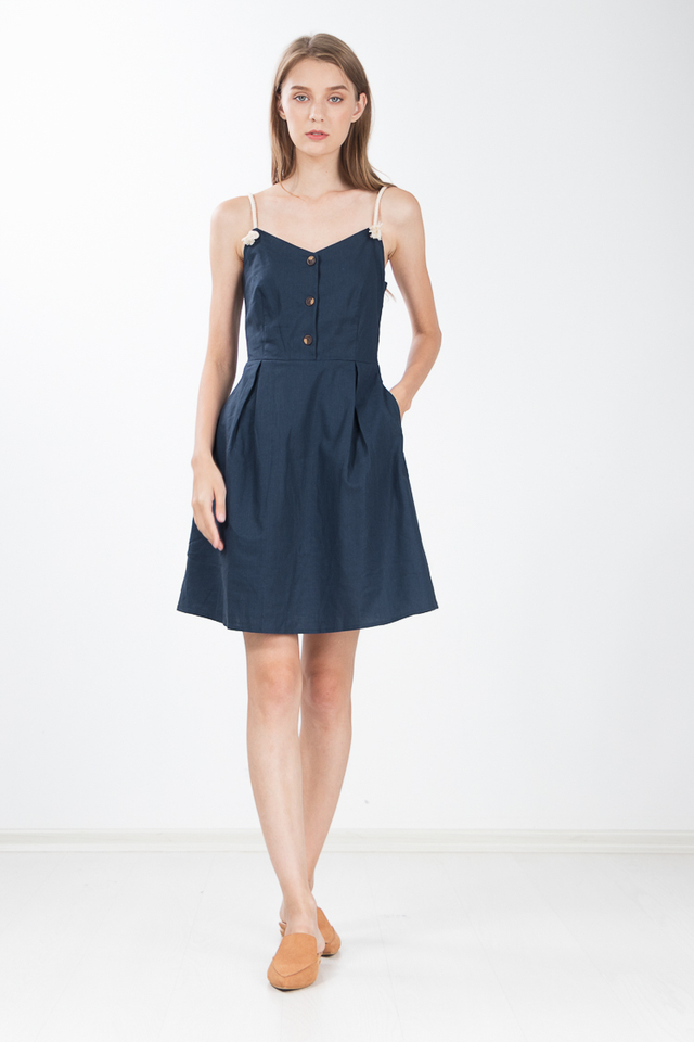 Alexa Roped Linen Flare Dress in Navy Blue