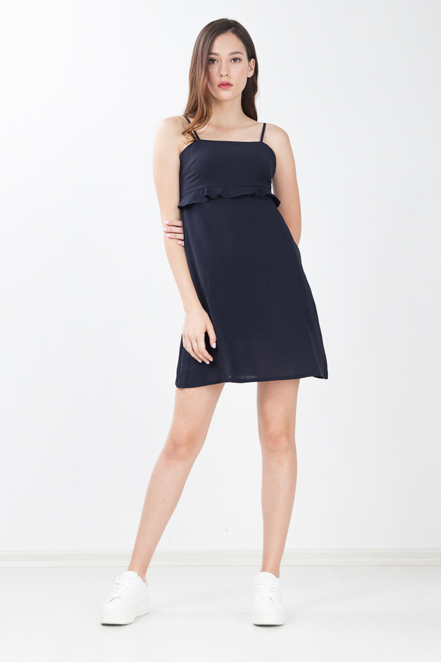 Harlie Ruffled Dress in Navy Blue