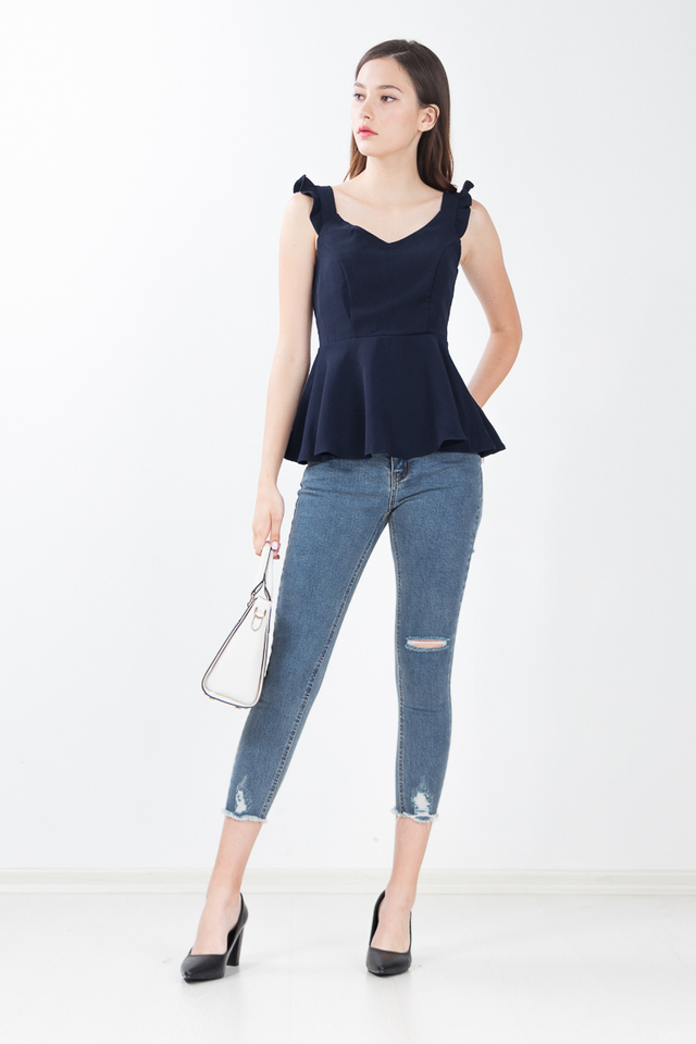 Reece Peplum Top in Navy Blue