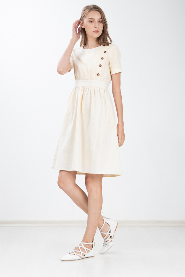 Hue Button Linen Dress in Yellow