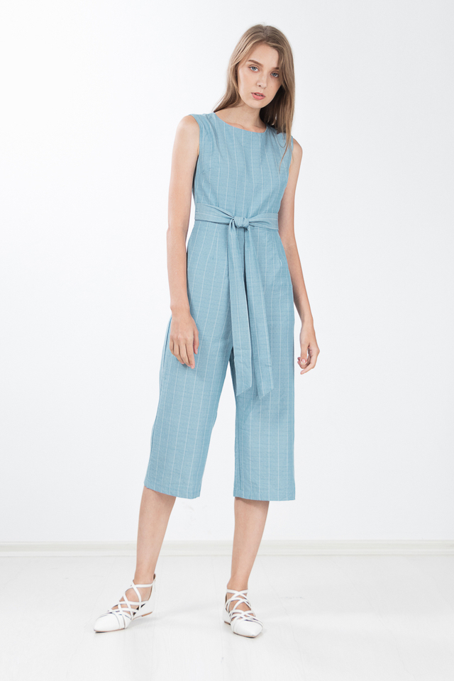 Emersyn Pinstriped Jumpsuit in Turkish Blue