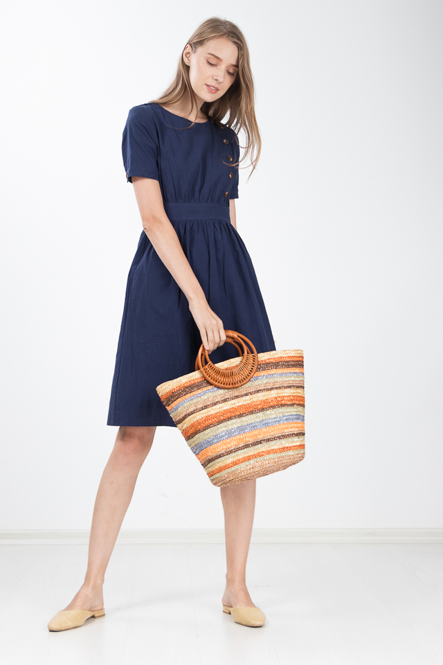 Hue Button Linen Dress in Navy Blue