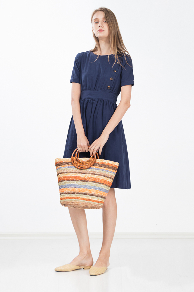 Hue Button Linen Dress in Navy Blue